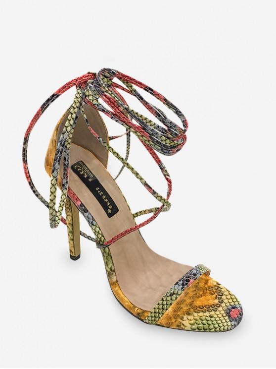 latest Ankle Wrap Animal Skin Print High Heel Sandals - YELLOW EU 38