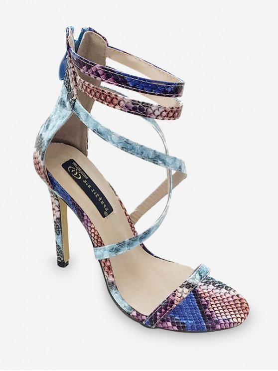 Sandalias de tacón alto con estampado de piel animal con tobillo - Azul Pizarra EU 40