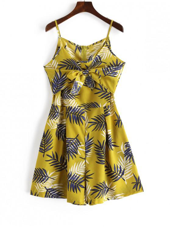 online Tie Front Leaves Print Cami Romper - YELLOW XL