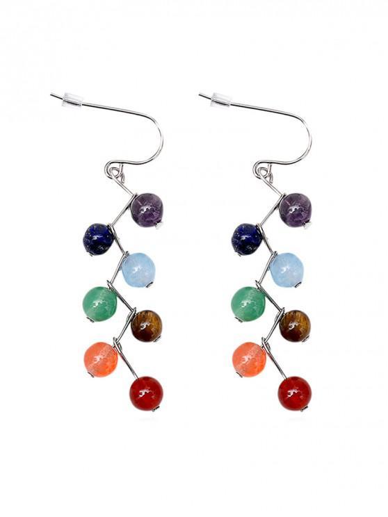 Pendientes de gota de piedra natural de aleación de colores - Multicolor-A
