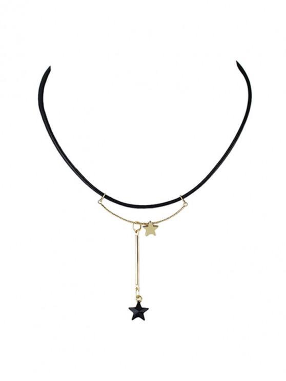 Collar de cuero de la PU del colgante de la barra simple de la estrella - Negro