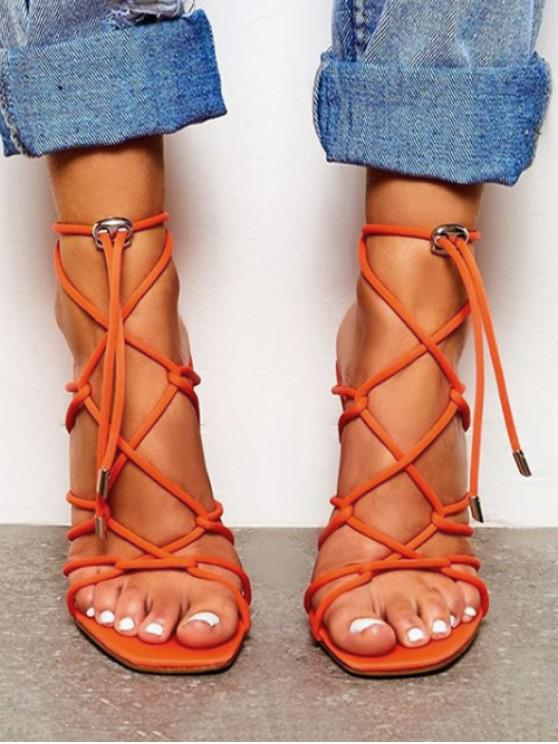 outfit Square Toe Lace Up Stiletto High Heel Sandals - TIGER ORANGE EU 35
