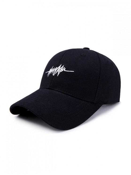 Sombrero de béisbol de algodón simple de patrón bordado - Negro