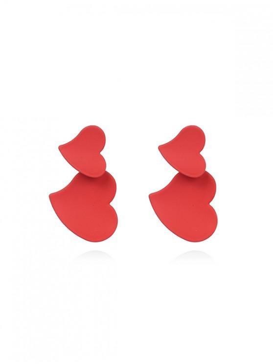 Pendientes en forma de doble corazón - Rojo
