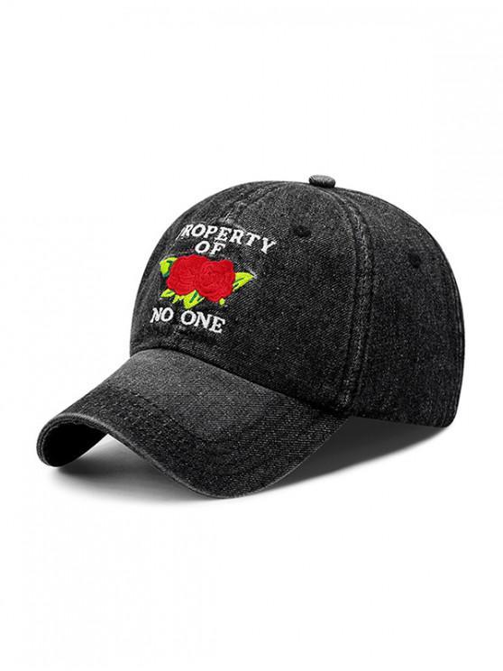 Sombrero de beisbol bordado flores y letras - Negro