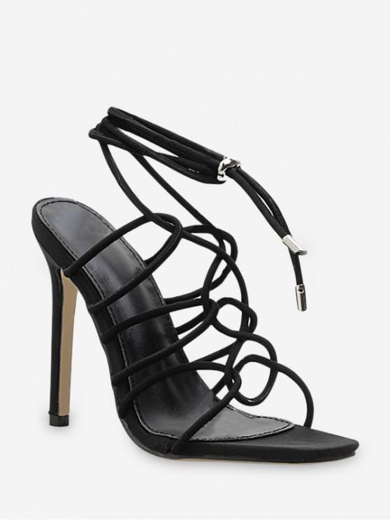 รองเท้าส้นสูงแบบผูกเชือก - สีดำ EU 39