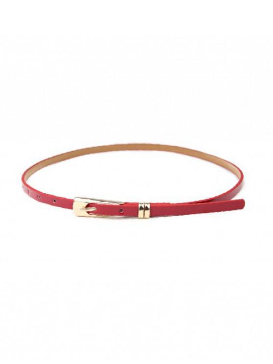 Vestido sólido cinturón de hebilla estrecha - Rojo