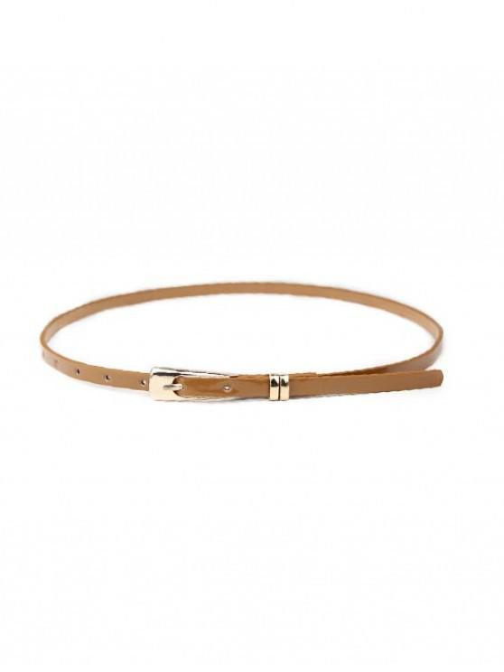 buy Solid Dress Narrow Buckle Belt - CAMEL BROWN