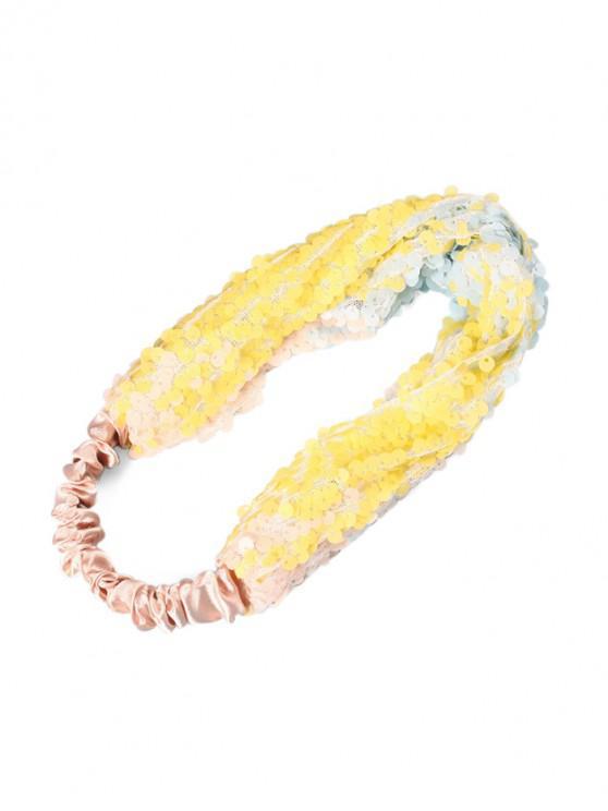 Diadema elástica de tela de lentejuelas - Amarillo