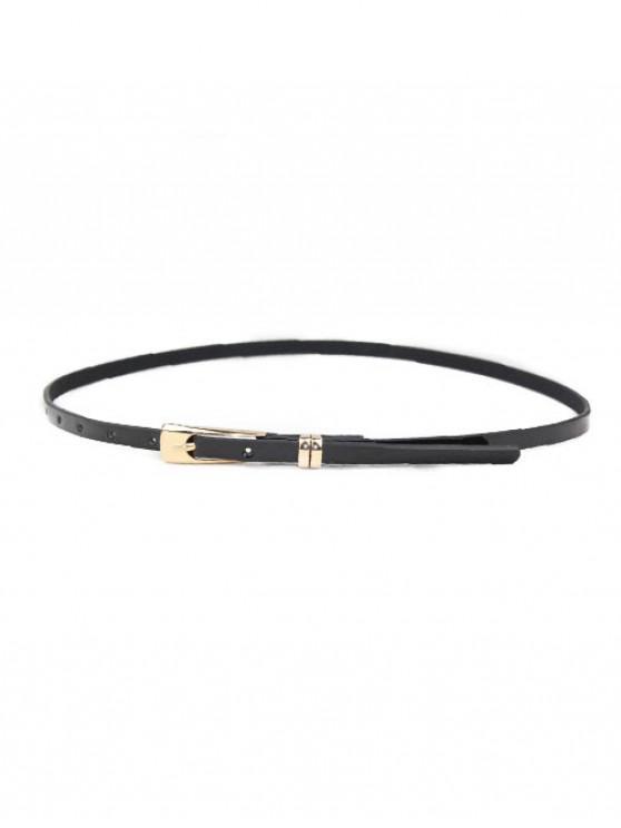 Vestido sólido cinturón de hebilla estrecha - Negro
