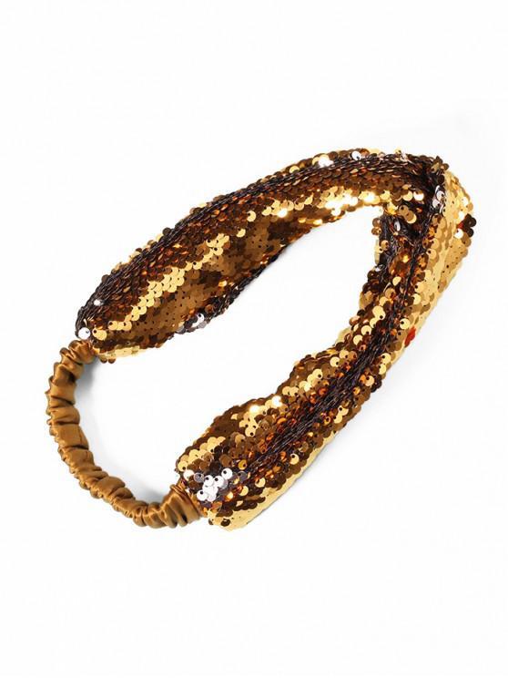 Diadema elástica de tela de lentejuelas - Oro