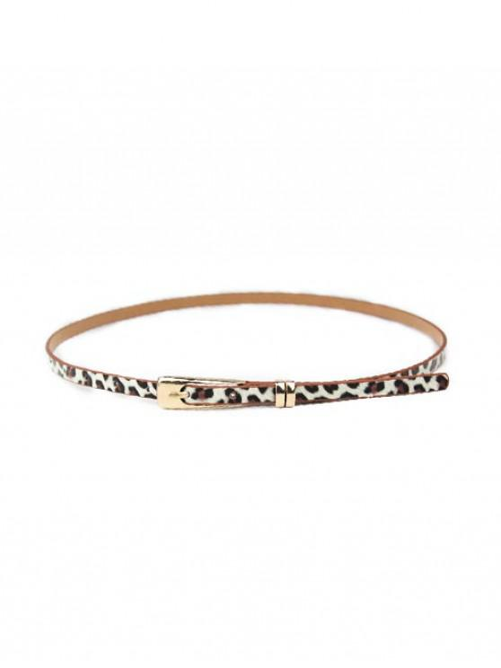 best Solid Dress Narrow Buckle Belt - LEOPARD