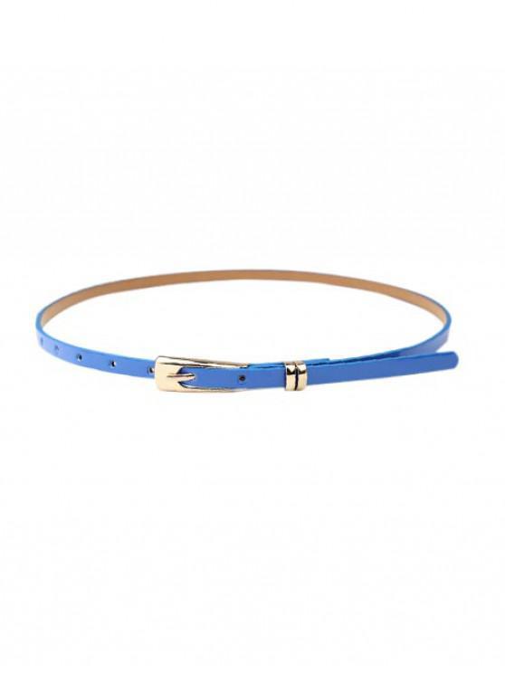Vestido sólido cinturón de hebilla estrecha - Azul Océano