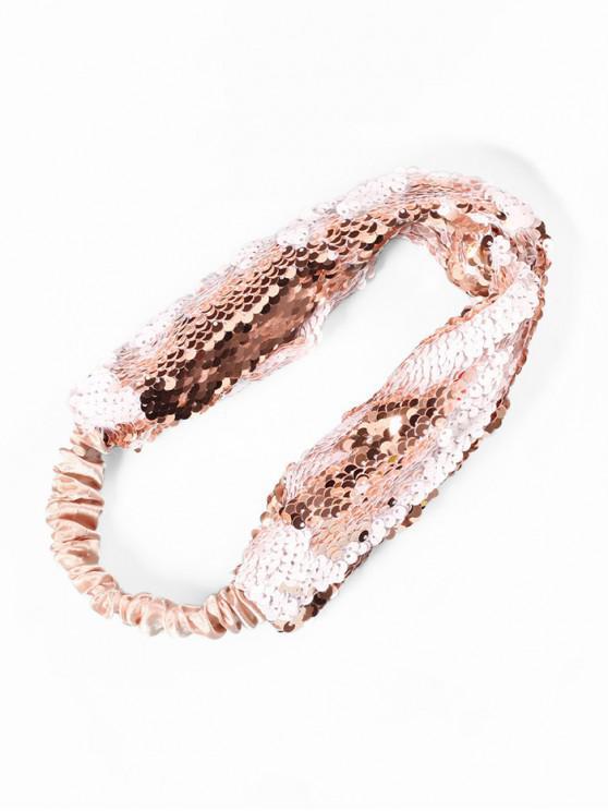 Diadema elástica de tela de lentejuelas - Rosado