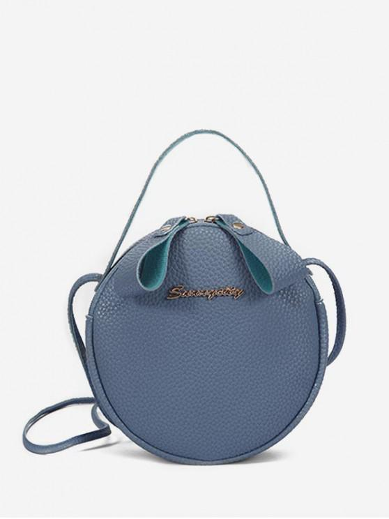 chic Solid Mini Round Coin Bag - BLUE IVY