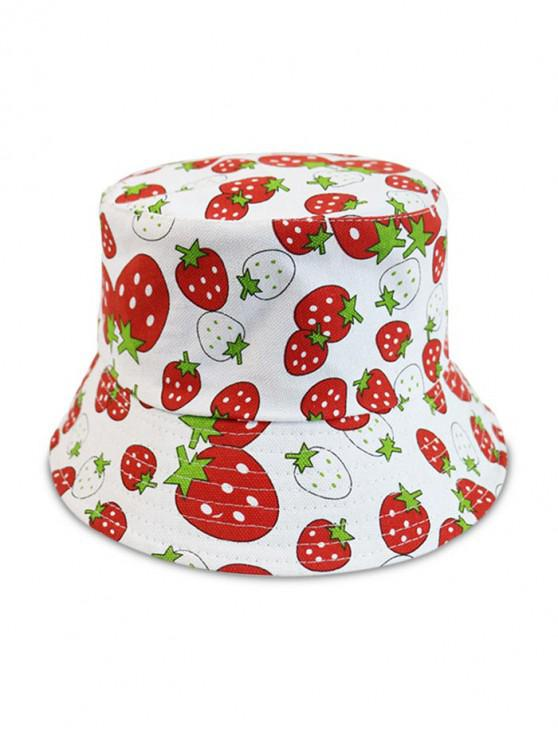 latest Strawberry Pattern Dual-face Bucket Hat - WHITE