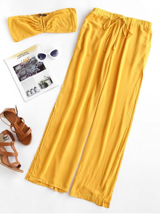 outfit ZAFUL Strapless Smocked Slit Wide Leg Two Piece Set - BEE YELLOW S