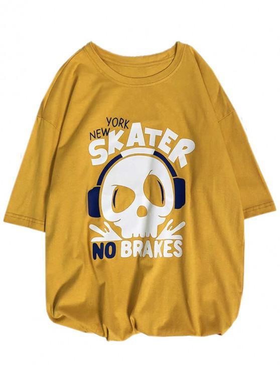 T-shirt à motif tête de mort avec lettre imprimée de lettres - Jaune Clair L