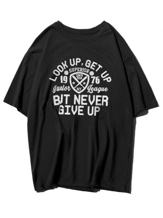 online Logo Letter Graphic Print Casual T-shirt - BLACK XS
