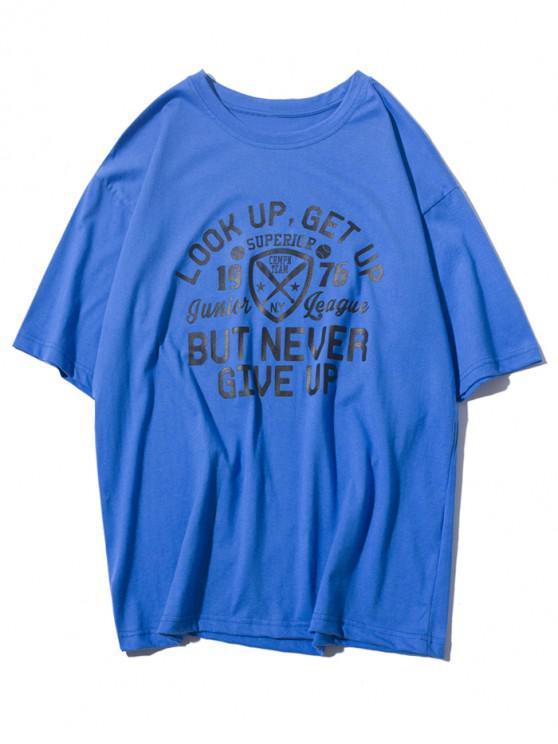 Logo carta estampado gráfico camiseta casual - Azul Océano  XS