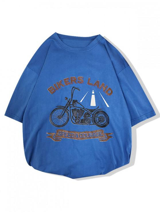 fashion Motorcycle Bikers Land Letter Print Short Sleeves T-shirt - OCEAN BLUE L