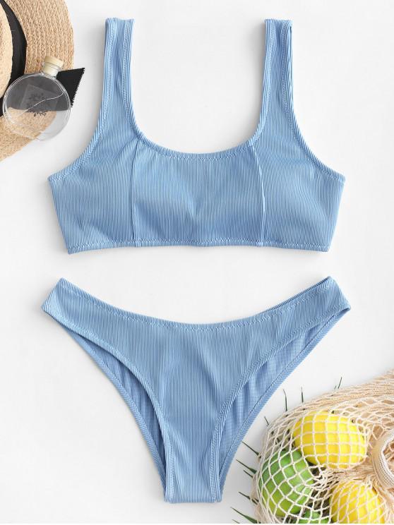 trendy ZAFUL Textured Ribbed Convertible Bikini Swimsuit - DENIM BLUE S