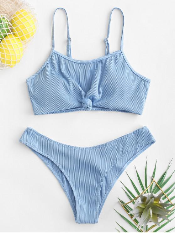 best ZAFUL Knot Textured Ribbed Bikini Swimsuit - BLUE KOI M