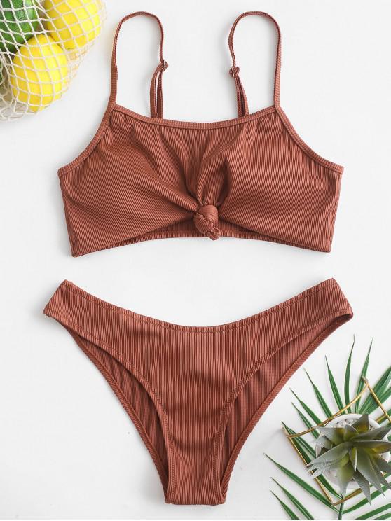 women's ZAFUL Knot Textured Ribbed Bikini Swimsuit - CHESTNUT M