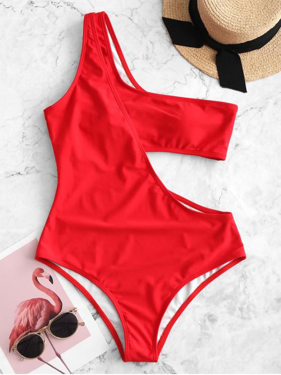 women ZAFUL One Shoulder Cutout One-piece Swimsuit - RED M