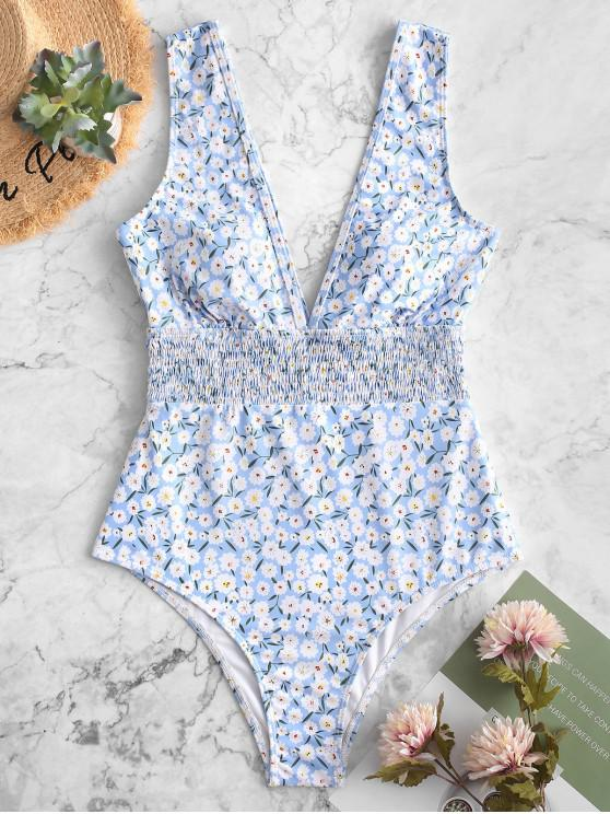 women's ZAFUL Floral Smocked Plunging One-piece Swimsuit - MULTI-A M