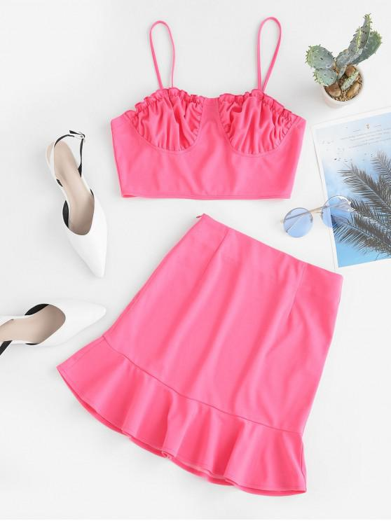 shops ZAFUL Cropped Cami Top And Ruffles Skirt Set - PINK S