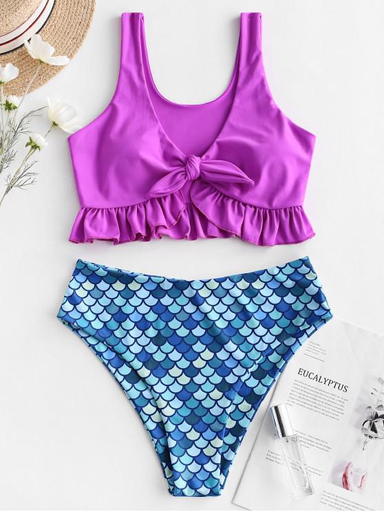 ZAFUL Sereia Amarrada Mergulhando Ruffle Tankini Swimsuit - Flor Roxa M