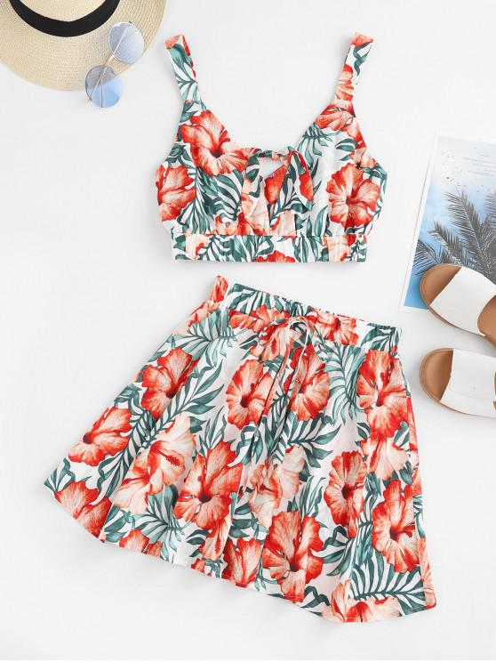 latest ZAFUL Floral Leaf Print Knot Two Piece Dress - MULTI-B S