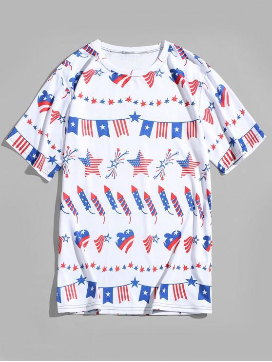 T-shirt Graphique Drapeau Américain Cœur Rayé Imprimés - Blanc Naturel 4XL