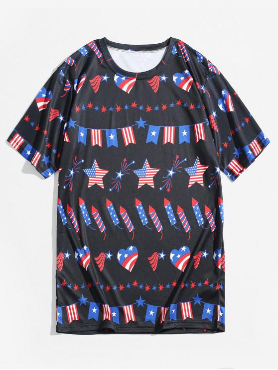 outfits Star and Striped American Flag Heart Print Graphic T-shirt - GRAPHITE BLACK M