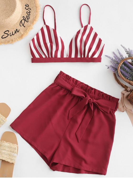 best ZAFUL Open Back Striped Crop Top And Paperbag Shorts - CHERRY RED L