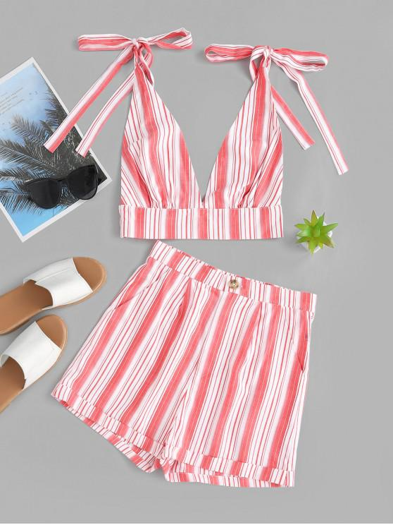 best ZAFUL Striped Halter Open Back Crop Top And Shorts - VALENTINE RED S