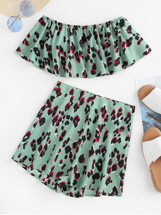outfit ZAFUL Flounce Printed Crop Bandeau Top and Shorts Set - MEDIUM TURQUOISE M