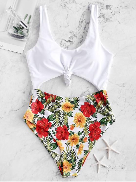 unique ZAFUL Flower Leaf Print Knotted Monokini Swimsuit - MULTI-A S