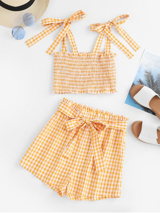 affordable ZAFUL Gingham Smocked Crop Top and Paperbag Shorts Set - RUBBER DUCKY YELLOW L