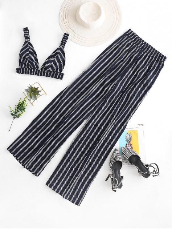 women's ZAFUL Striped Crop Top And Side Slit Palazzo Pants - LAPIS BLUE M