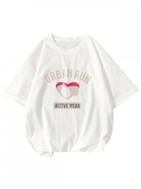 T-shirt à manches courtes Urban Run Letter avec cœur creux et imprimé - Blanc L