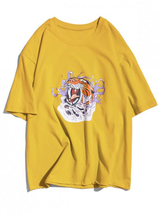 outfit Tiger in the Water Graphic Short Sleeves T-shirt - BRIGHT YELLOW XS