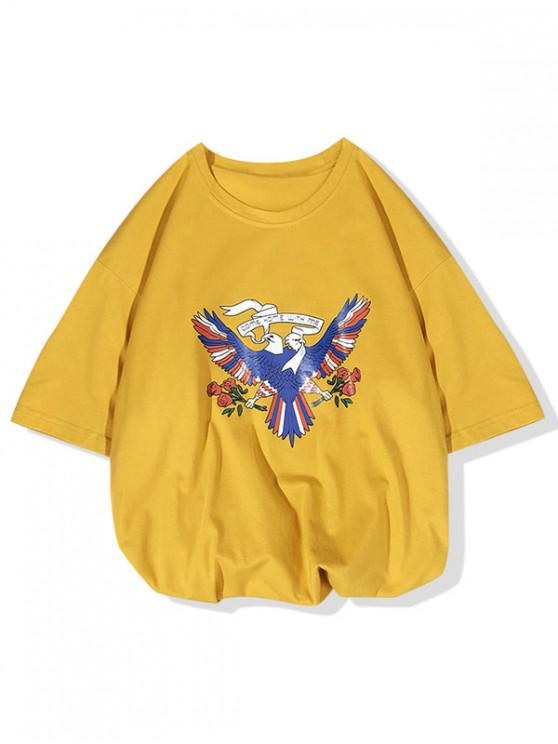 Ven a casa conmigo La camiseta con estampado de flores de Pigeon - Amarillo Brillante L