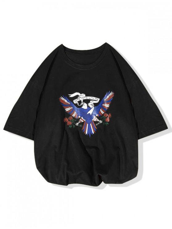 Ven a casa conmigo La camiseta con estampado de flores de Pigeon - Negro S