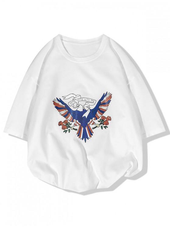 Viens à la maison avec moi Pigeon T-shirt Imprimé Fleurs - Blanc L