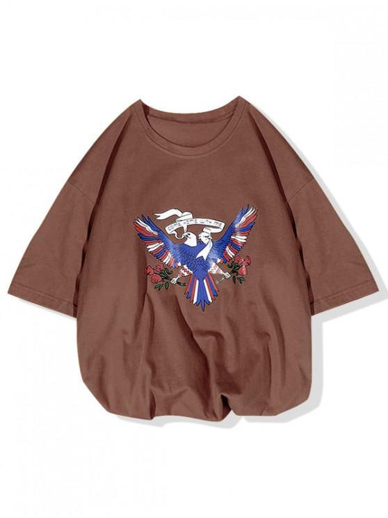 Ven a casa conmigo La camiseta con estampado de flores de Pigeon - Café L