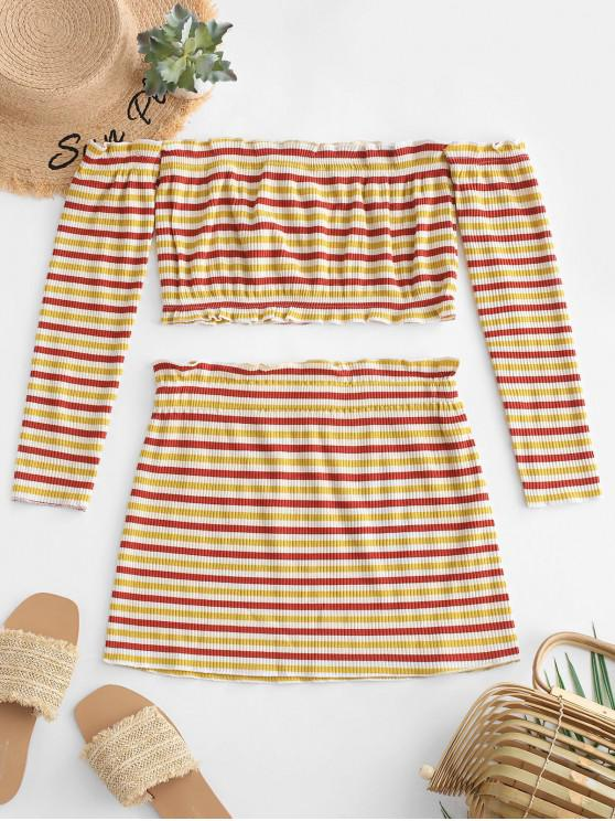 lady Ribbed Stripes Off Shoulder Two Piece Dress - MULTI S
