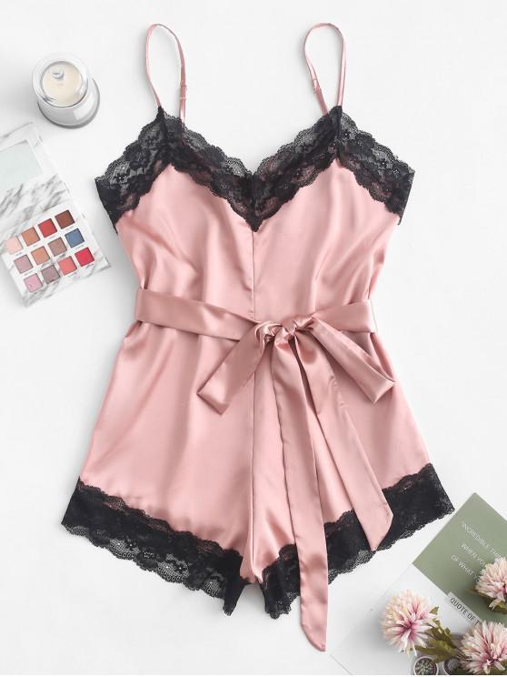 ladies Lace Insert Slip Belted Pajama Romper - PINK S