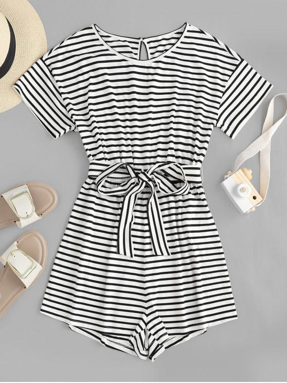 women's ZAFUL Keyhole Belted Stripes Romper - WHITE M